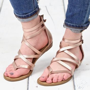 Bungalow Strappy Zip Back Sandals {Rose Gold}