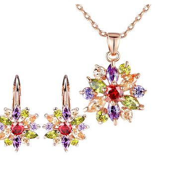 Gold Color Flower Jewelry Sets For Women