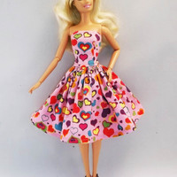 Pink Hearts Strapless Handmade Barbie Dress, Barbie Clothes 02