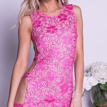 GAVIN LACE DRESS IN HOT PINK  - 8 COLORS