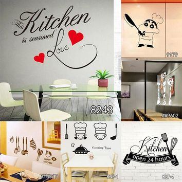 The Kitchen is Home Heart Pattern Quotes Wall Sticker PVC Removable House Decoration Cuisine Wallpaper Wall Poster for Hotel