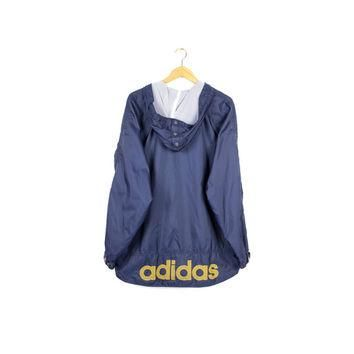 90s ADIDAS windbreaker jacket / vintage 1990s / parka / navy blue + yellow / text logo
