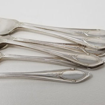 Antique Art Deco Silver Plate Engravable Pastry Forks EPNS Set of Six