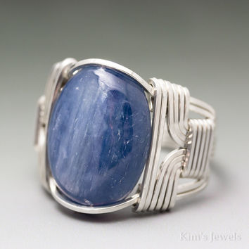 Blue Kyanite Sterling Silver Wire Wrapped Cabochon Ring