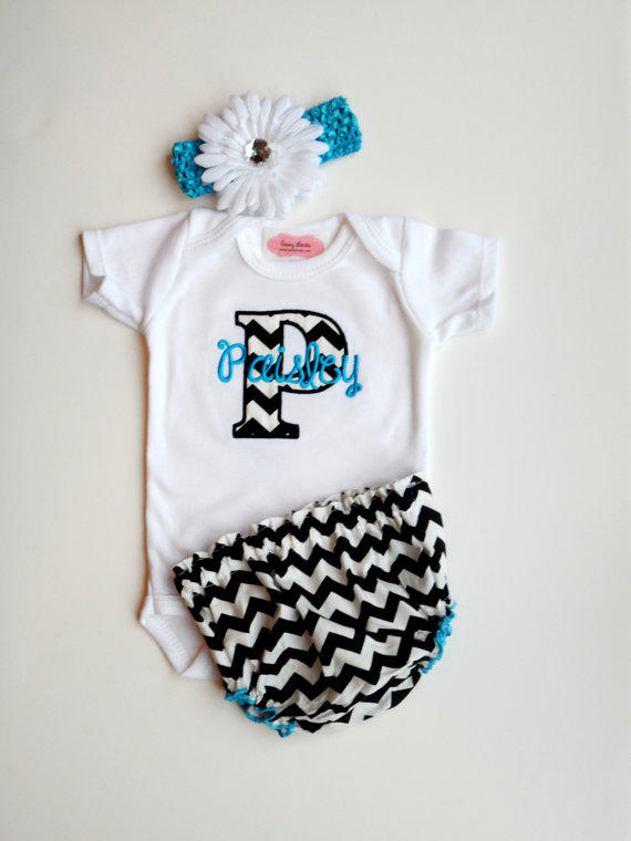 Chevron Personalized Baby Girl Clothes from LilMamas on Etsy