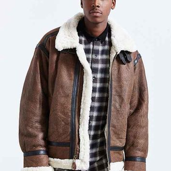 Alpha Industries B-3 Sheepskin Bomber Jacket- Brown
