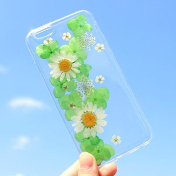 green petal chrysanthemum case 100 handmade dried flowers cover for iphone 7 7plus iphone 6 6s plus gift box b61  number 1