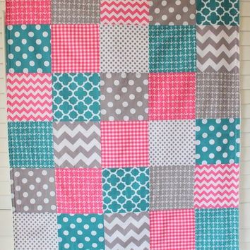 Baby Girl Blanket, Minky Blanket, Crib Blanket, Nautical Nursery Decor, Baby Shower Gift, Pink, Teal and Gray, Chevron, Dots, Anchors