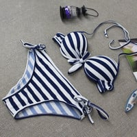 Women Navy Style Bikini Set Dark Blue&White Striped Swimwear Swimsuit for Summer Dress