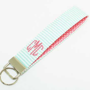 Monogrammed Seersucker & Confetti Dot Wristlet Key Fob in Choice of Colors