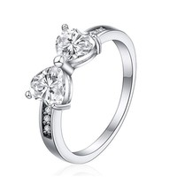 Crystal Rings Plated Platinum Elegant Finger Clear Zircon Bow Ring For Wo