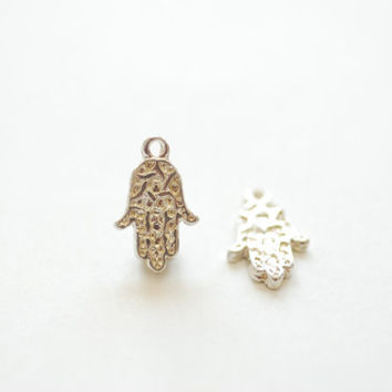 2pcs Sterling Silver Hamsa Hand -925 sterling silver fatima good luck charms, Yoga Charms Necklace, Silver Hamsa, Wholesale Beads