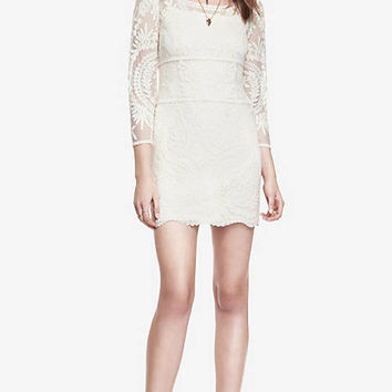 BAROQUE LACE DRESS - IVORY from EXPRESS