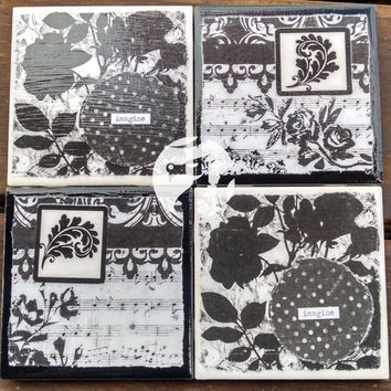 """One of a Kind Ceramic Tile Black & White With Roses, Flowers, Sheet Music, Notes, """"Imagine"""" Drink Coasters Set of 4"""