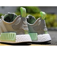Adidas NMD R1 3M Mint Green Mark Fashion Trending Running Sports Shoes Grey