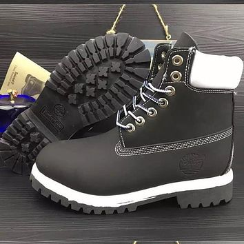 Timberland Rhubarb boots for men and women shoes waterproof Martin boots lovers Black white