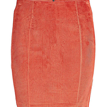 Red Mini Skirt with Zip Detail