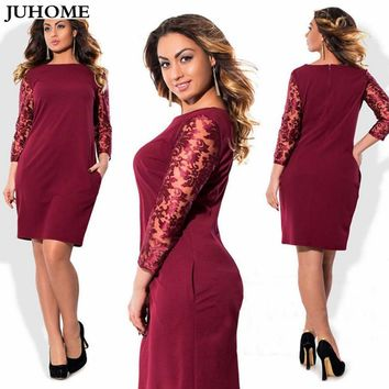 Plus Size 3XL 4XL 5XL 6XL Women Clothing 2018 big/large size Bodycon Vestidos Patchwork Elegant Summer Work office dress For Fat