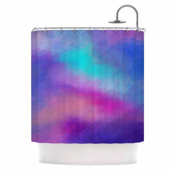 "Viviana Gonzalez ""ABSTRACT 02"" Purple Blue Shower Curtain"