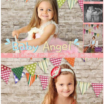 150cm*200cm(5*6.5ft) photo backdrop Wooden brick wall flag Children's photography background S-111