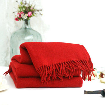 Red Wool Blanket,Throws for sofa,Wool throw blanket,Sofa throws,Wool blanket,Warm,Winter,Red Blanket,Wool throw,Woolen blanket,Home decor