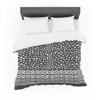 "Pom Graphic Design ""Wind Night"" Black White Featherweight Duvet Cover"