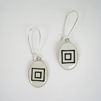 White geometric earrings minimal black and white concentric squares abstract hand painted bohemian boho dangle long drop surgical steel