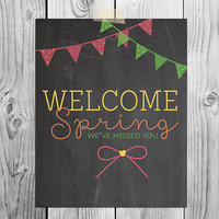 Chalkboard Printable Art | Welcome Spring | Instant Download | Whimsical Home Decor | Coral Yellow Spring Green |