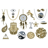Full Tilt Metallic Temporary Tattoos Gold One Size For Women 25877362101