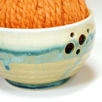 Pottery Yarn bowl,bowl for knitting,knitting accessory,ceramic yarn bowl,stoneware yarn bowl,yarn bowl pottery,teal yarn bowl,stoneware bowl