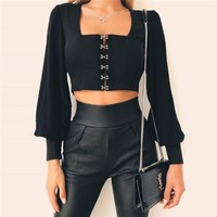 imperial lantern cropped blouse
