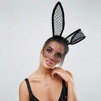 ASOS Halloween Bunny Ears with Spotty Veil Headband at asos.com