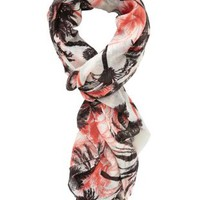 Coral Tropical Print Wrap Scarf by Charlotte Russe
