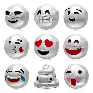 Cute gift for friends 925 Sterling Silver Smiley Emoticon face expression Emoji Charm Bead pandora diy jewelry fit bracelets