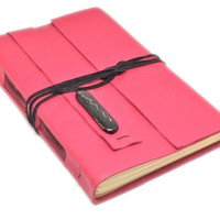 Leather Journal with Blank Paper, Large Pink Travel Journal, Fused Glass, OOAK, Bookmark, Custom, Sketchbook, Breast Cancer Awareness