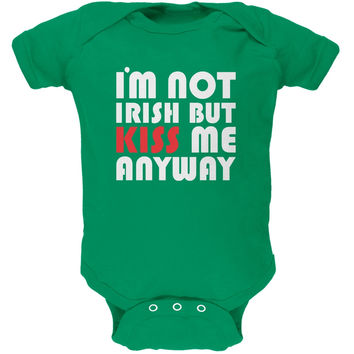 St. Patricks Day - Kiss Me Anyway Green Soft Baby One Piece