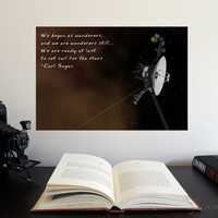 Carl Sagan inspirational quote and Voyager 1 - Large Poster - Science Astronomy Prints - Window on the Universe series