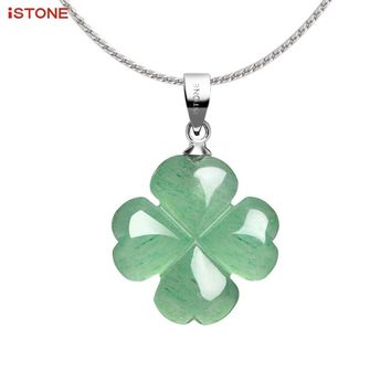 "iSTONE Unisex Healing Gemstone Necklace Natural Green Four Leaf Clover Stones Crystals Pendant Necklace with Chain 18"" Jewelry"