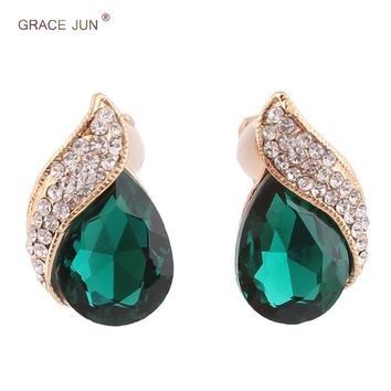 High-grade Rhinestone Crystal Tear Drop Shape Clip on Earrings Non Piercing for Women Wedding Luxury No Hole Earrings New