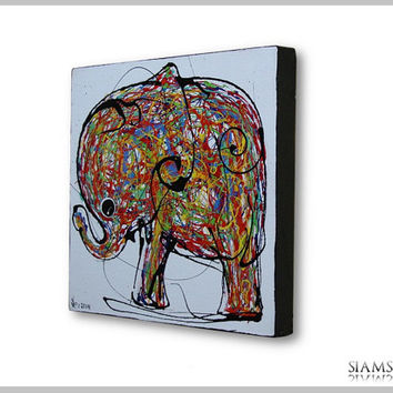 Elephant oil painting on canvas