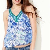 Tie Dye High Low Top with Beaded Neckline and Split Back