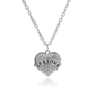 Grandma Puffed Heart Necklace