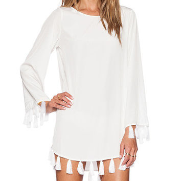 White Fringed Hem Long-Sleeve Dress