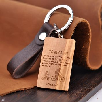 Personalized Leather and Wood Dogtag Pendant for Key Chain and Necklace