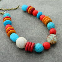Turquoise Tribal Necklace - Blue Turquoise, Coral, Tribal, Boho, Rondelles, Brown, Brass, Red, Orange, Native American, Jewelry Necklace
