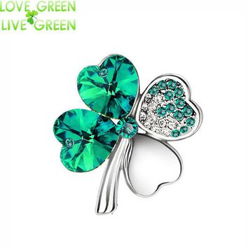 Brooches 18KGP Austria Crystal four leaf clover 9554