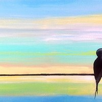 Birds on A Wire Painting by JP Morris - Birds on A Wire Fine Art Prints and Posters for Sale