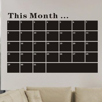 Month Plan Calendar Chalkboard MEMO Blackboard Vinyl Wall Sticker