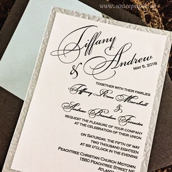 Elegant Wedding Invitation - Embossed Wedding Invitation - TIFFANY VERSION