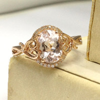 Morganite Engagement Ring 14K Rose Gold!Diamond Wedding Bridal Ring,6x8mm Oval Cut Pink Morganite,Art Vintage Floral,Fashion New Design